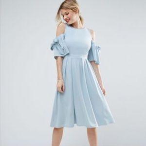 ASOS Baby Blue Bow Cold Shoulder Crepe Midi Dress